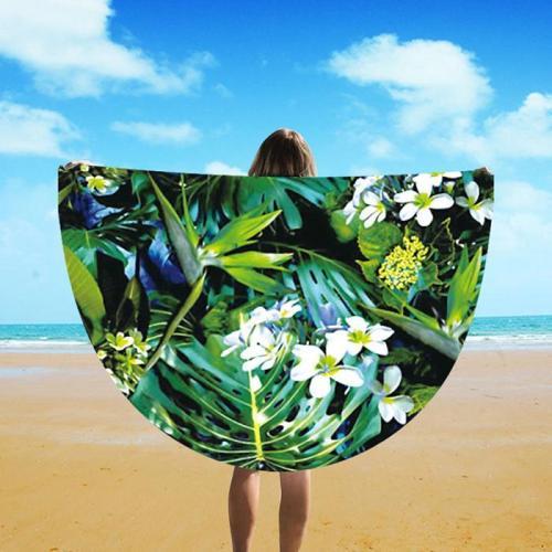 2018 Fashion Circle Leaf Printed Beach Towel