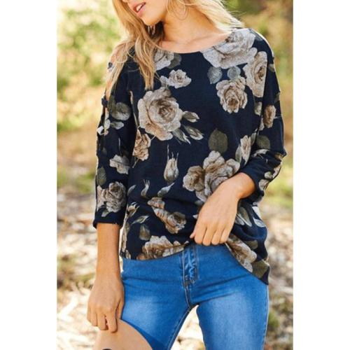 Crew Neck  Cutout  Floral Printed T-Shirts