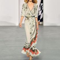 Fashion Sexy V Neck Long Sleeves Maxi Dress