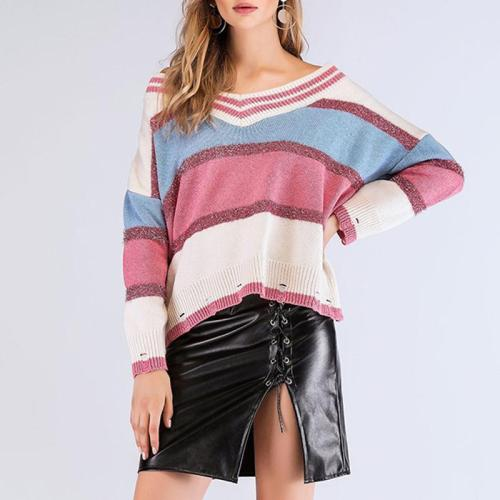 Fashion V-Neck Stripe Printed Bat Sleeve Sweaters