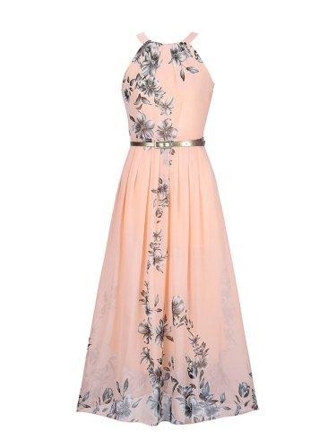 Summer Floral Printed Chiffon Maxi Dress
