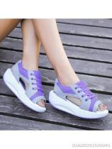 Color Block Low Heeled Criss Cross Peep Toe Casual Sneakers