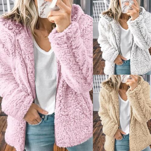 Hooded Long Sleeve Zipper Plain Coats