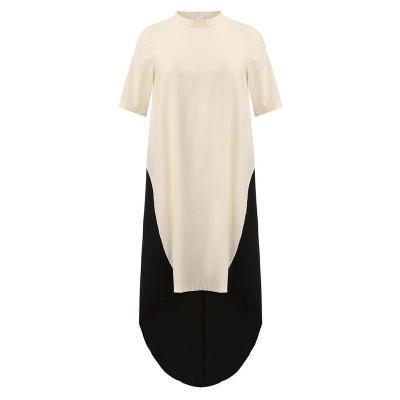 High Neck Asymmetric Hem Patchwork Half Sleeve Maxi Dresses