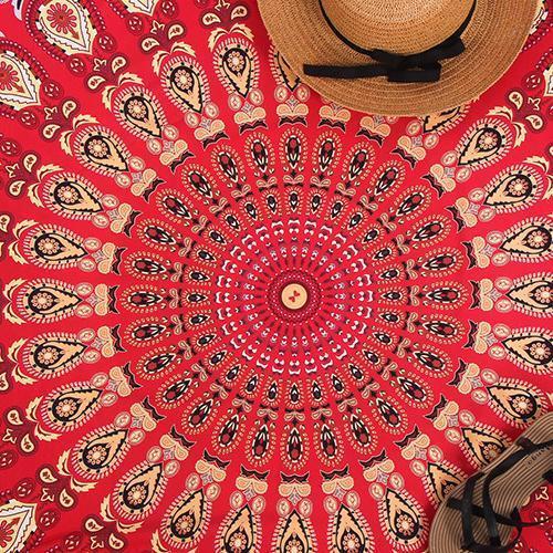 Boho Printed Round Beach Towel Shawl