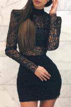 Fashion Gauze Shining Long Sleeve Bodycon Dresses