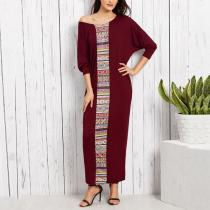 Fashion Batwing Sleeve Bohemian Printed Loose Maxi Dress