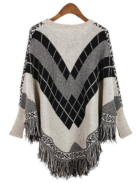 Casual Batwing Crew Neck Knitted Gingham Poncho