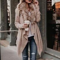 Faux Fur Collar Asymmetric Hem Patchwork Coats