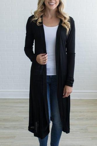 Collarless Plain Long Sleeve Cardigans
