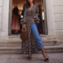 Fashion Long Sleeves Leopard Print T-Shirt Maxi Dress
