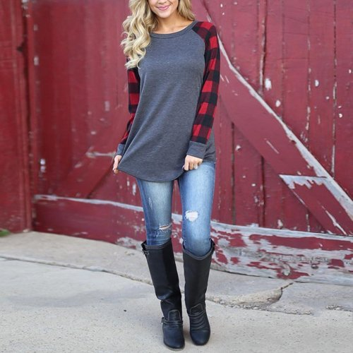 Plaid Printed T-Shirt With Plus Size