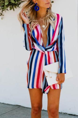 Deep V Neck  Elastic Waist  Striped  Long Sleeve Casual Dresses