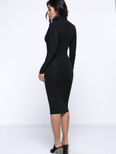 Lapel Patchwork Zips Plain Modern Bodycon Work Dress