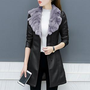 Faux Fur Collar Pocket PU Leather Coat
