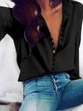 Sexy Loose Plain Lapel Long-Sleeved Shirt