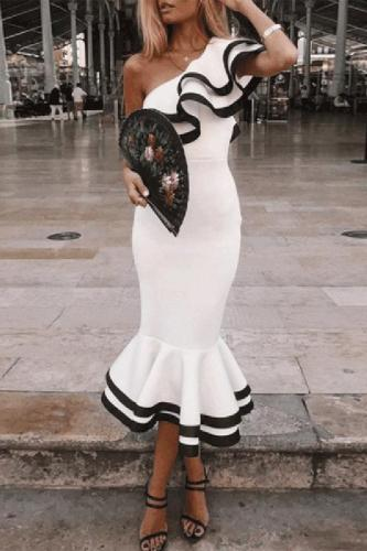 One-Shouldered Fishtail Party Bodycon Dress