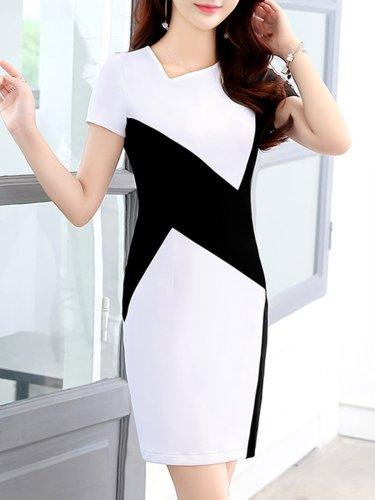 Asymmetric Neck Color Block Bodycon Dresses