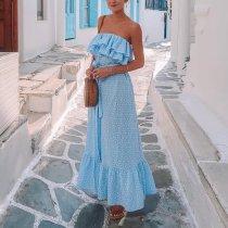 Sexy Elegant Sky Blue Sleeveless Maxi Dress