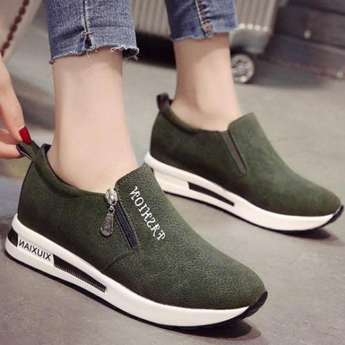Suede Zipper Platform Casual Shoes
