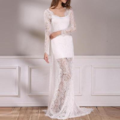 High-End Lace V-Neck Bride Wedding Evening Long Dress