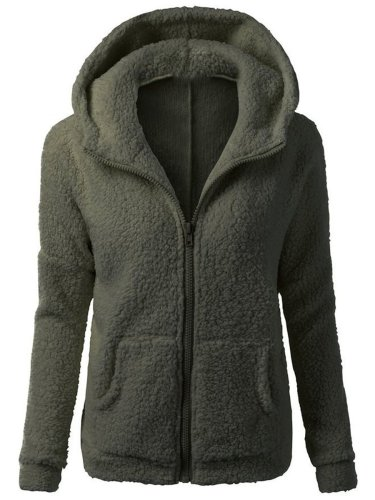 Hooded Solid Patch Pocket Fleece Coat