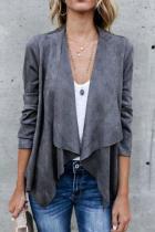 Fold Over Collar Asymmetric Hem Plain Jackets