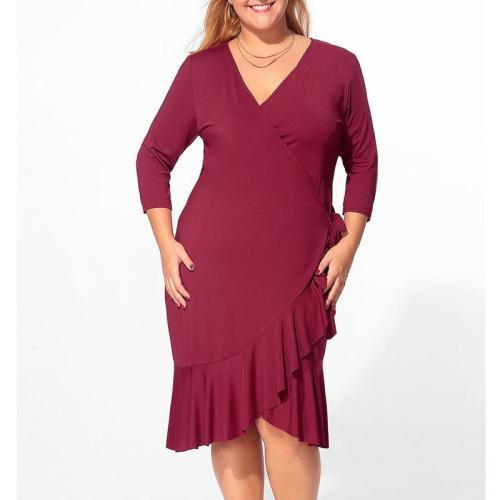 V Neck Flounce Bowknot Plain Plus Size Bodycon Dress