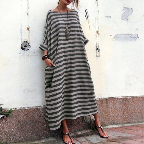 Cotton Round-Neck Stripe Maxi Dress