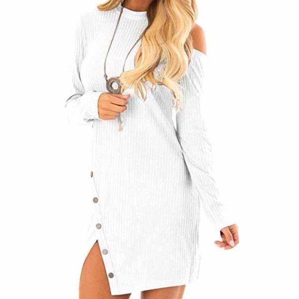 Round Neck  Single Button  Plain  Long Sleeve Bodycon Dresses
