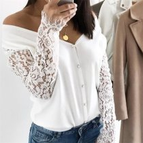 Lace Stitching Off-The-Shoulder Blouse