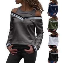 Round Neck Hollow Out Long Sleeve Patchwork T-Shirts