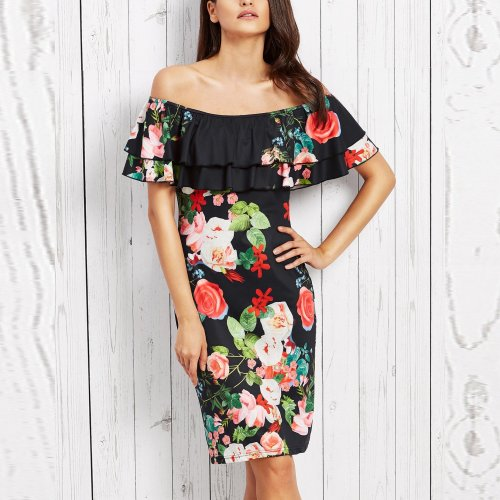 A Word Collar Double Frilled Printing Bodycon Dress