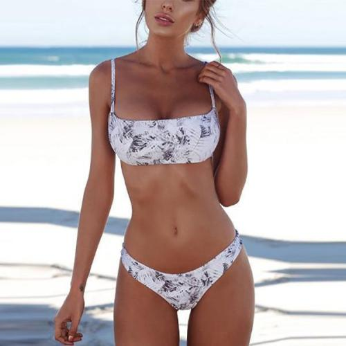 Spaghetti Strap  Backless Cutout Patchwork  Plain Printed Bikini