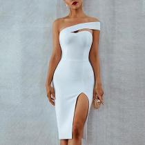 Sexy Slit Irregular Off-Shoulder Bare Back Bodycon Dress