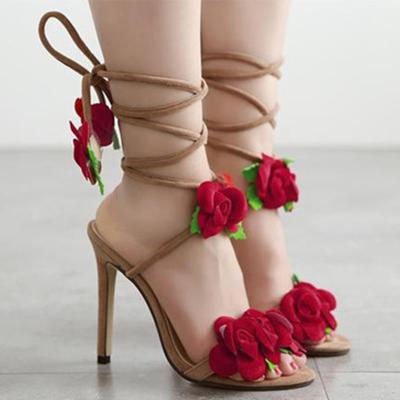 Rose Design Lace Up Women's Sandals