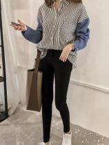 Casual Loose Stripe   Stitching Long Sleeve Shirt