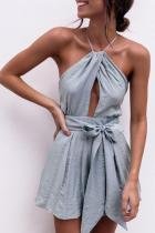 Halter  Backless Cross Straps  Plain  Sleeveless  Playsuits