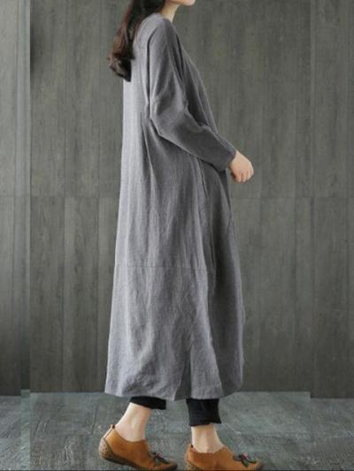 Plus Size Women Shift Daily Long Sleeve Linen Pockets Solid Dress