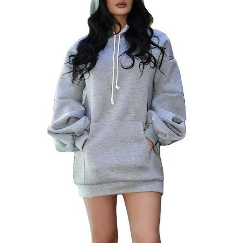 Stylish Solid Color Long-Sleeved Hoodie