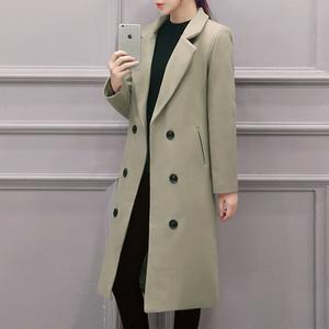 Lapel Double Breasted Pocket Plain Woolen Long Coat