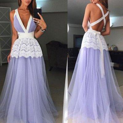 Deep V Neck Backless Maxi Dress
