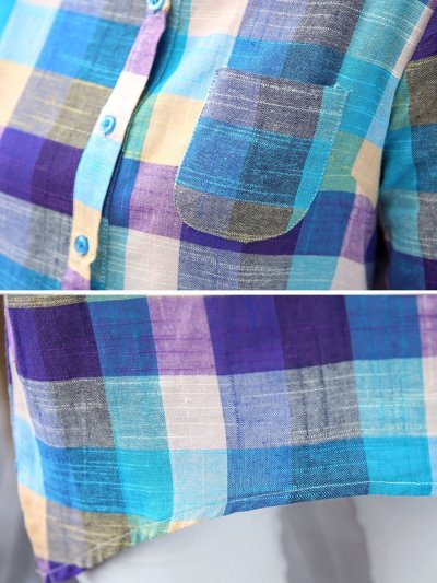 Turn Down Collar Decorative Button Plaid Long Sleeve Blouses