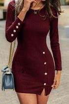 Round Neck Plain Button Knitting Bodycon Dresses