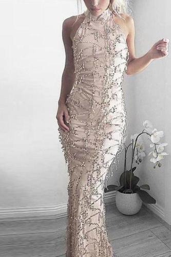 2018 New Style Sexy  Sequins Tassel Evening Party Dress