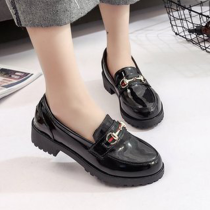 Round Toe Slip On Chunky Heel Loafers