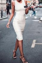 Sexy Backless Slim Fit Plain Bodycon Dress
