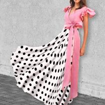 Sweet V Collar Belt Pink Dot Flouncing Maxi Dress