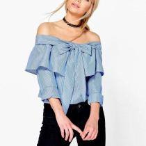 Off Shoulder Plain  Bow-Knot Roll-Up Sleeve T-Shirt