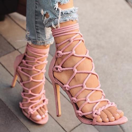 Plus Size Open Toe Hollow Stiletto Heels